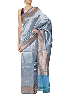Midnight Blue Handwoven Banarsi Saree Set by Shivangi Kasliwaal
