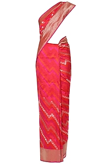 Hot Pink Hadwoven Kadhua Banarsi Saree Set