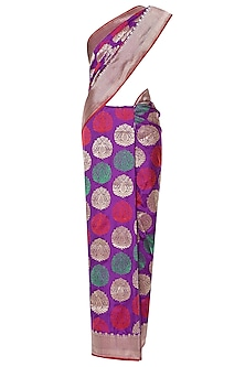 Purple Handwoven Kadhua Banarsi Saree Set by Shivangi Kasliwaal