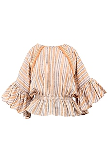 Peach Block Printed Cold Shoulder Top