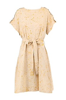 Cream Block Printed Knee Length Dress