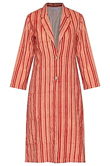 Red printed striped coat by SHIKHA MALIK