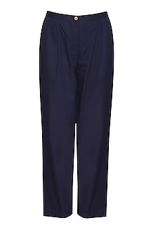 Blue straight fit pants