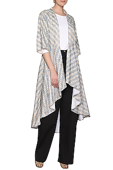 White printed checks coat by SHIKHA MALIK