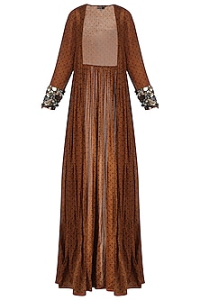 Brown Long Cape Jacket with Embroidered Cuffs