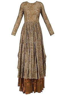 Brown Leaf Brint Anarkali and Floral Gypsy Skirt Set