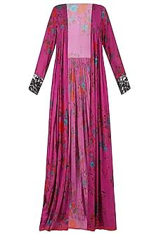 Pink Floral Cape Jacket and Black Sleeveless Jumpsuit Set