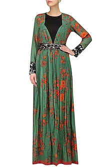Green and Red Berry Floral Print Cape Jacket and Black Sleeveless Jumpsuit Set by Saaksha & Kinni
