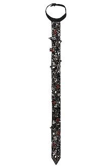 Black Zardozi Embroidered Long Tie by Saaksha & Kinni