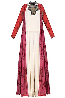 White Zardosi Embroidered Jumpsuit with Red and Pink Jacket by Saaksha & Kinni