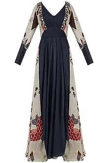 Midnight Blue Anarkali with Sky Blue Printed Jacket