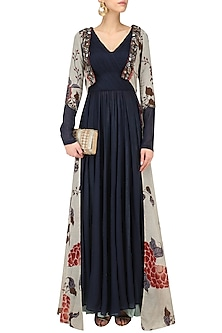 Midnight Blue Anarkali with Sky Blue Printed Jacket by Saaksha & Kinni