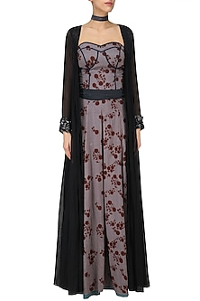 Lilac Floral Print Jumpsuit with Black Embroidered Long Jacket by Saaksha & Kinni