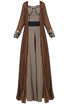Brown Checkered Print Jumpsuit with Brown Embroidered Long Jacket by Saaksha & Kinni