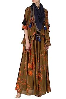 Brown Floral Print Mirror Embellished Blouse and Gypsy Skirt Set by Saaksha & Kinni