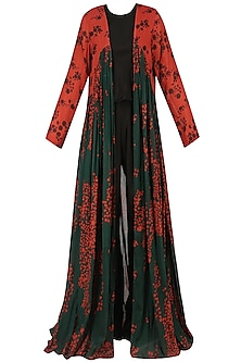 Green and Red Berry Print Floor Length Jacket by Saaksha & Kinni