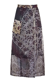 Grey & Lilac Printed Wrap Skirt