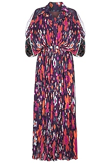 Multi Colored Floral Printed Kaftan With Belt by Saaksha & Kinni