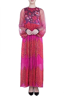 Pink & Orange Printed Floral Leheriya Maxi Dress by Saaksha & Kinni