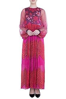 Pink & Orange Printed Floral Leheriya Maxi Dress by Saaksha & Kinni