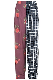 Black Dual Printed Floral & Checkered Trouser Pants