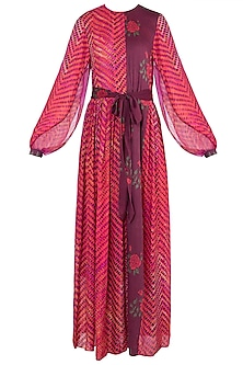 Pink Dual Printed Leheriya Maxi Dress With Belt by Saaksha & Kinni