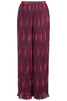 Burgundy Rose Printed Palazzo Pants by Saaksha & Kinni