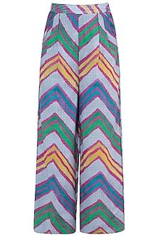 Grey Printed Leheriya Trouser Pants