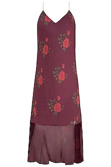 Burgundy Dual Rose Printed Leheriya Slip Dress