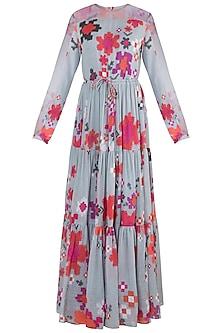Grey Printed Floral Gypsy Dress With Belt by Saaksha & Kinni