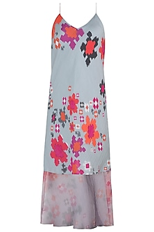 Grey Printed Abstract Floral Slip Dress