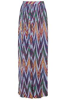 Grey Printed Leheriya Pleated Skirt