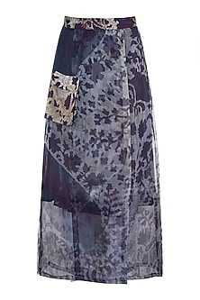 Grey Printed Floral Sheer Wrap Skirt