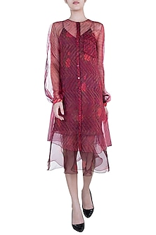 Burgundy Dual Leheriya & Rose Printed Sheer Cape by Saaksha & Kinni