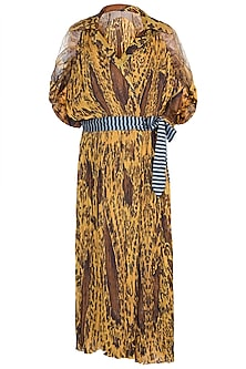 Mustard Paisley Printed Kaftan With Belt