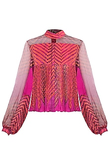 Pink Leheriya Printed Blouse