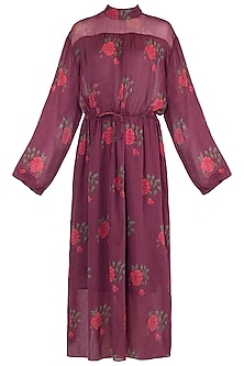 Burgundy Printed Maxi Dress With Belt by Saaksha & Kinni