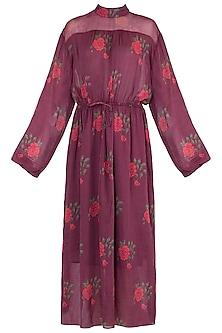 Burgundy Printed Maxi Dress With Belt