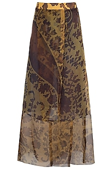Mustard Paisley Printed Wrap Skirt