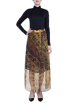 Mustard Paisley Printed Wrap Skirt by Saaksha & Kinni