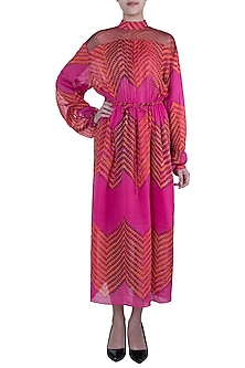 Pink Leheriya Printed Maxi Dress With Belt by Saaksha & Kinni