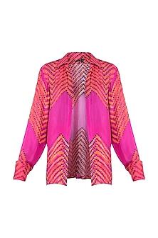 Pink Leheriya Printed Collared Shirt