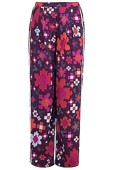 Multi Colored Abstract Floral Printed Trouser Pants