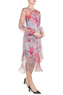 Light Pink Floral Printed Sheer Cape Dress by Saaksha & Kinni
