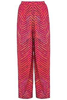 Pink Printed Leheriya Trouser Pants