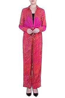 Pink Printed Leheriya Trouser Pants by Saaksha & Kinni