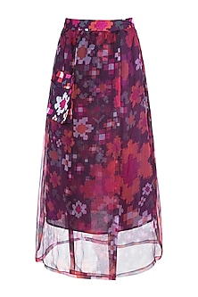 Multi Colored Abstract Floral Printed Sheer Wrap Skirt