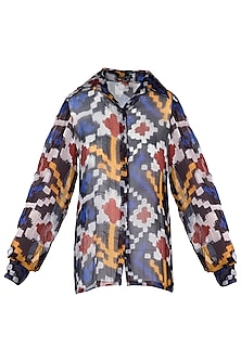 Multi-Coloured Ikkat Print Blouse