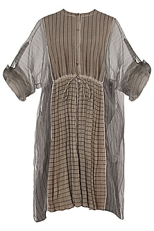Beige Micropleated Striped Kurta
