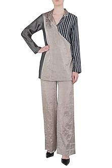 Silver Wide Leg Pants by Saaksha & Kinni